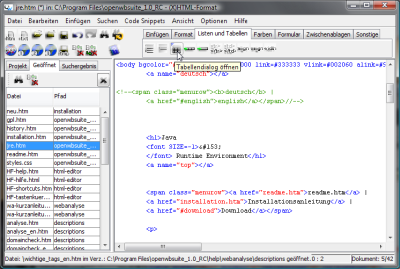 Open-Source HTML-Editor: (X)HTML-Format